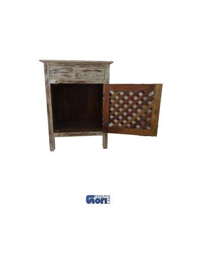 comodino con rete in legno