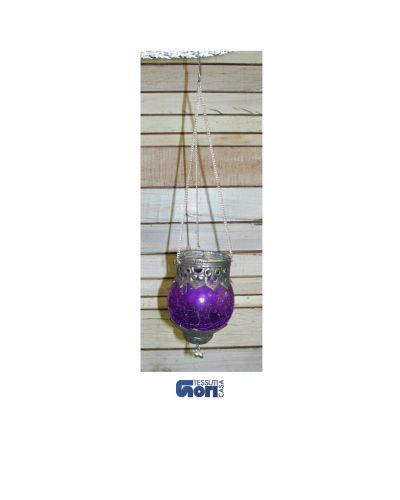 Portacandele a sospensione color viola